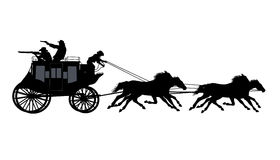 Cowboy. S run away from the chase in stagecoach Stock Image
