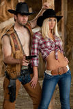 Cowboy with cowgirl Royalty Free Stock Images