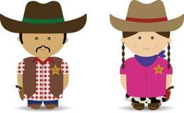Cowboy & cowgirl Immagini Stock