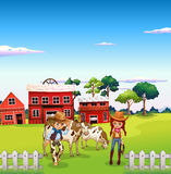 A cowboy and a cowgirl at the farm. Illustration of a cowboy and a cowgirl at the farm Stock Photo