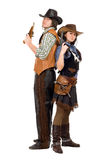 Cowboy and cowgirl with a guns. Young cowboy and cowgirl with a guns in hands. Isolated on white Stock Photos