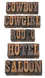 Cowboy, Cowgirl, Rodeo, Saal Stockfotos