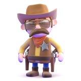 Cowboy 3d bereit zu zeichnen Lizenzfreie Stockfotos