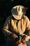 Cowboy dans la lumière d'aube Photo stock