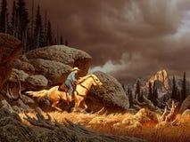 Cowboy dans la tempête Photographie stock libre de droits