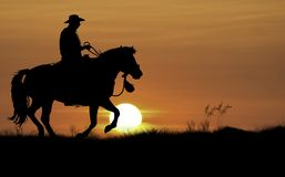 Cowboy dans le coucher du soleil image stock
