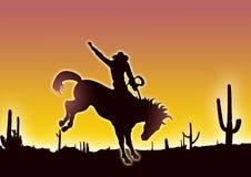 Cowboy dans le désert Photographie stock