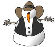 Cowboy de bonhomme de neige Photos stock