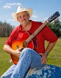Cowboy de canto Foto de Stock Royalty Free