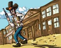 Cowboy de dessin animé avec des sixguns Images libres de droits