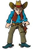 Cowboy de dessin animé avec une courroie de canon Photo stock
