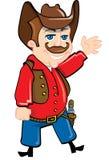 Cowboy de dessin animé avec une courroie de canon Photos stock