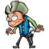 Cowboy de dessin animé avec une courroie de canon et un chapeau de cowboy Photos libres de droits