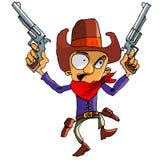 Cowboy de dessin animé avec une courroie de canon et un chapeau de cowboy Images stock