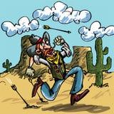 Cowboy de dessin animé exécutant de l'Indien Photographie stock libre de droits