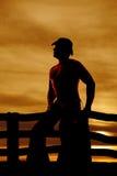 Cowboy de silhouette aucune chemise Images libres de droits