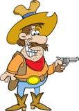 Cowboy del fumetto che tiene una pistola Immagini Stock Libere da Diritti