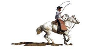 Cowboy del rodeo su un cavallo bianco illustrazione vettoriale