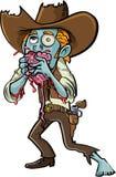 Cowboy dello zombie del fumetto che mangia un cervello Immagini Stock