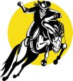 Cowboy, der ein sträubendes wildes Pferd reitet vektor abbildung