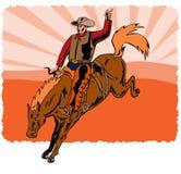 Cowboy, der ein sträubendes wildes Pferd reitet stock abbildung