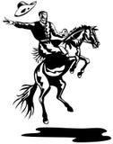 Cowboy, der ein sträubendes wildes Pferd reitet lizenzfreie abbildung