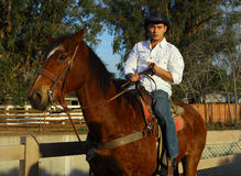 Cowboy, der sein Pferd petting ist Stockfoto