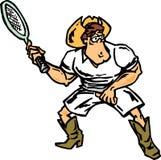 Cowboy, der Tennis spielt Stockbild