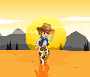 A cowboy at the desert Stock Images