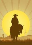 Cowboy in the desert vector illustration