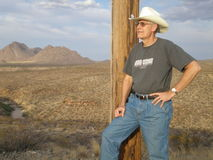 Cowboy in the desert Stock Photography
