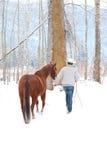 Cowboy di inverno Fotografie Stock