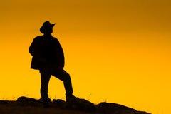 Cowboy die bij schemer wordt gesilhouetteerd Stock Afbeelding