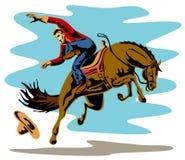 Cowboy die een bucking wild paard berijdt vector illustratie