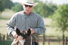 Cowboy die een paard berijdt Royalty-vrije Stock Foto's