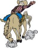 Cowboy die een paard berijdt vector illustratie