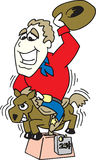 Cowboy die een poney berijdt stock illustratie