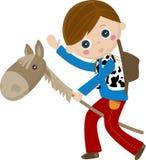 Cowboy die een stok, marionettenpaard berijdt Stock Afbeelding