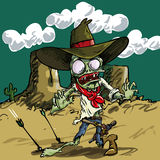 Cowboy do zombi dos desenhos animados com pele verde Fotografia de Stock