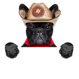 Cowboy dog. Cool cowboy dog behind white blank banner or placard royalty free stock photography