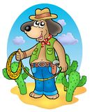 Cowboy dog with lasso in desert Stock Image
