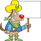 Cowboy dog with a sign Stock Images