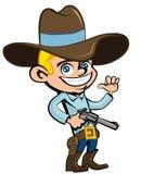 Cowboy dos desenhos animados com sixguns ilustração stock