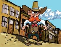 Cowboy dos desenhos animados com sixguns ilustração do vetor