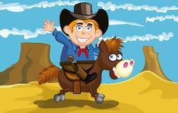 Cowboy dos desenhos animados em um cavalo ilustração do vetor