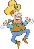 Cowboy dos desenhos animados que salta com dois polegares acima ilustração royalty free