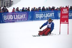 Cowboy Downhill Stampede. Photo from Steamboat Springs` 2017 Bud Light Cowboy Downhill Stock Photo