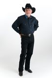 Cowboy dressed in denim royalty free stock images
