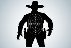 Cowboy duel target vector. Silhoutte of cowboy duel target vector Royalty Free Stock Photo