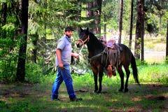 Cowboy e cavallo Immagini Stock Libere da Diritti